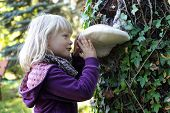 Little caucasian girl examining large Tinder fungus on tree bark - early education