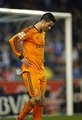 BARCELONA - JAN, 12: Cristiano Ronaldo of Real Madrid during the Spanish League match between Espanyol and Real Madrid at the Estadi Cornella on January 12, 2014 in Barcelona, Spain
