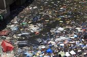 SEMPORNA, MALAYSIA - APRIL 24 2014: Plastic rubbish pollution in ocean. Photo showing pollution prob