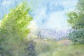 Watercolor Landscape Summer Haze