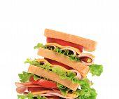 Big sandwich with fresh vegetables.