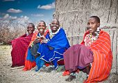 TANZANIA, AFRICA-FEBRUARY 9, 2014: Masai with traditional  ornaments, review of daily life of local people on February 9, 2014. Tanzania.Traditional handmade accessories made from Masai.