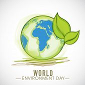 Go Green, illustration of mother earth globe and green leaves, background for World Environment Day.
