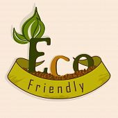 World Environment Day concept with stylish text Eco Friendly, ribbon and green leaves on abstract ba