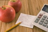 nutrition information, an apple and a calculator