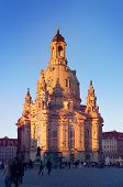 Frauenkirche church of Dresden at sundown