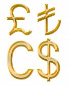 Signs Of Currencies: Pound, Canadian Dollar, Lire
