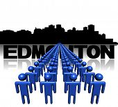 Lines of people with Edmonton skyline illustration