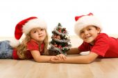 pic of gullible  - Kids with small decorated tree and christmas hats laying on the floor  - JPG