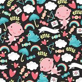 Cupid with clouds seamless pattern.