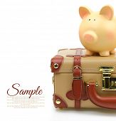 Brown suitcase with piggy bank and copy-space