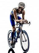 man triathlon iron man athlete bikers cyclists bicycling biking  in silhouettes on white background