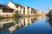 An old Chinese traditional town by the Grand canal,suzhou,jiangsu,China.Grand canal is oneof  famous