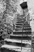 Old Ancient Stone Made Stairlead To A Door