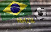 image of roller shutter door  - metallic roller shutter door with brazil flag and soccer ball - JPG