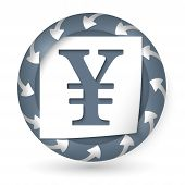 Vector Abstract Icon With Arrows And Yen Sign