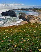 Spring time view of natural bridge in Natural Bridges National Park in Santa Cruz