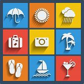 Set of 9 summer vector web and mobile icons