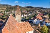 Aerial view of Mosna Vilage and church tower