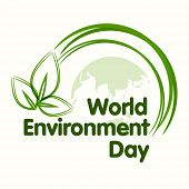 World Environment Day concept with beautiful green leaves on world map background, can be use as fly