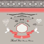 Wedding Design  Template With Paisley Border,cartoon,hearts