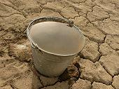 bucket full of water on dry cracked soil background