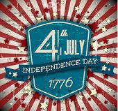 Vector independence day badge / poster - retro vintage version with stars