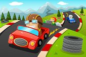 picture of car ride  - A vector illustration of happy kids in a car racing - JPG
