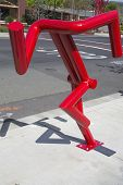 Can't stop statue by artist Bruce Johnson at public art walk in town of Yountville