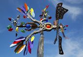 Phoenix movable sculpture by artist Andrew Carson at public art walk in town of Yountville