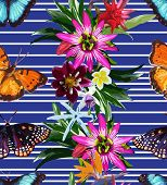 image of jungle flowers  - vector seamless pattern of butterflies and tropical flowers - JPG