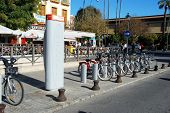 Bicycle hire rank, Seville, Spain.
