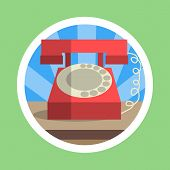 Red Vintage Rotary Phone Flat Design