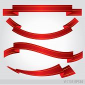Set Red Ribbons Vector