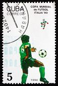 Postage Stamp Cuba 1990 Soccer Players In Action