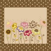 Abstract Floral Card On Brown Background With Dots