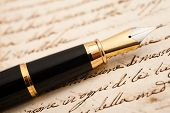 picture of cursive  - Fountain pen on an antique handwritten letter - JPG