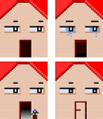 four faces of home with emotional expressions