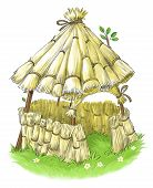 stock photo of baby pig  - Fairy straw house from Three Little Pigs fairy tale - JPG