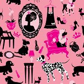 picture of poodle  - Seamless pattern with glamour accessories furniture girl portrait and dogs  - JPG