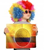 Child With Columbian Soccer Background