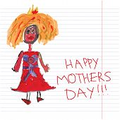 Princess Children's Hand Drawing.doodles.happy Mother's Day