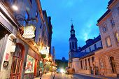 QUEBEC CITY, CANADA - SEP 10: Old street at night on September 10, 2012 in Quebec City, Canada. As t