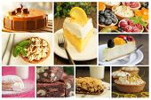 Collage showing different kind of dessert like lemon pie, cheesecake and donuts