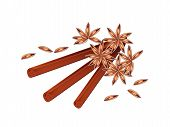 Stack Of Dried Star Anise And Cinnamon Sticks