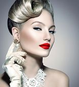 Glamourous Retro Woman Portrait. Beauty Glamour Lady. Jewellery. Pearl Earrings. Vintage styled Girl