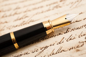 foto of cursive  - Fountain pen on an antique handwritten letter - JPG