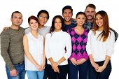 Cheerful group of friends over white background