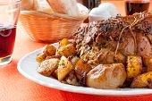 Roast with baked potatoes