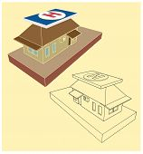 House With A Helipad On The Roof In The Style Of 3D